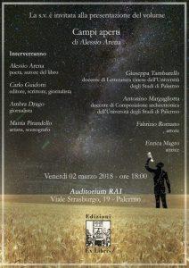 """All'Auditorium RAI di Palermo si presenta """"Campi aperti"""", la nuova raccolta di poesie di Alessio Arena"""